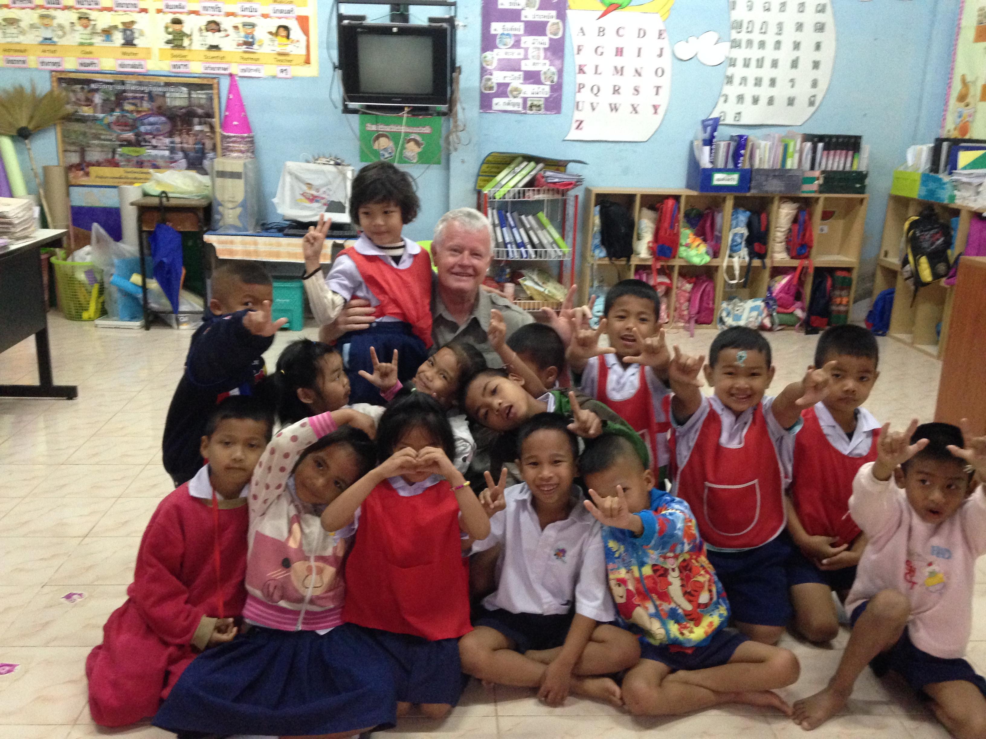 Kindergarten Students with John